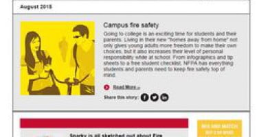 In August issue of Safety Source newsletter: new campus fire safety info, Sparky video, FPW Challenge & more