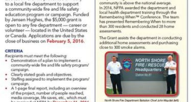 Annual grant opportunity is available to fire departments